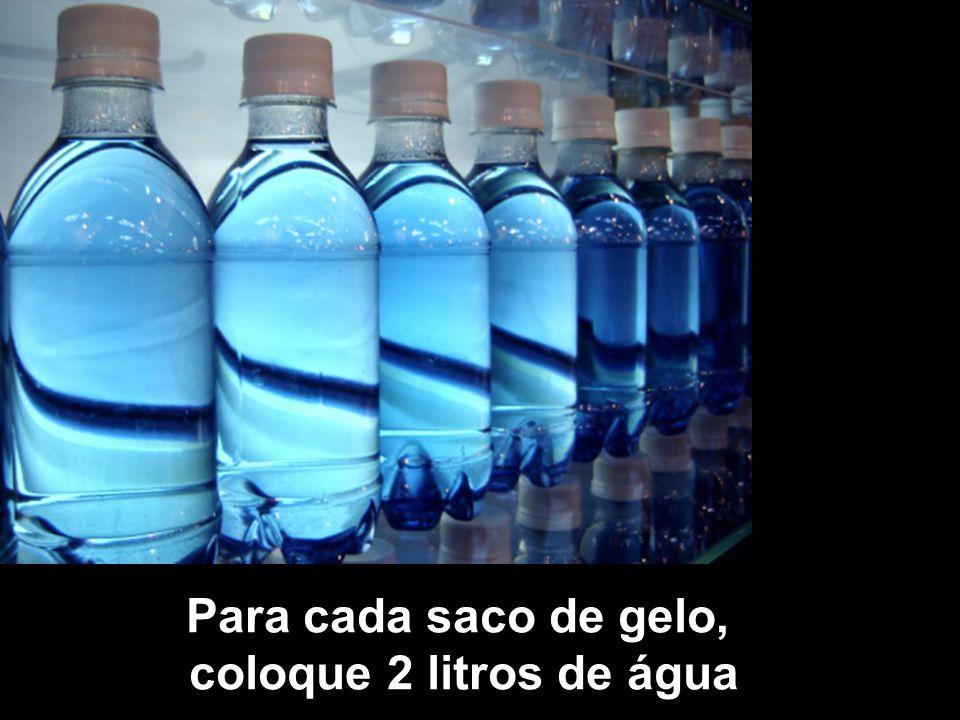 Para cada saco de gelo, coloque 2 litros de água