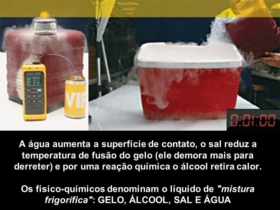 A água aumenta a superfície de contato, o sal reduz a temperatura de fusão do gelo (ele demora mais para derreter) e por uma reação química o álcool retira calor.
