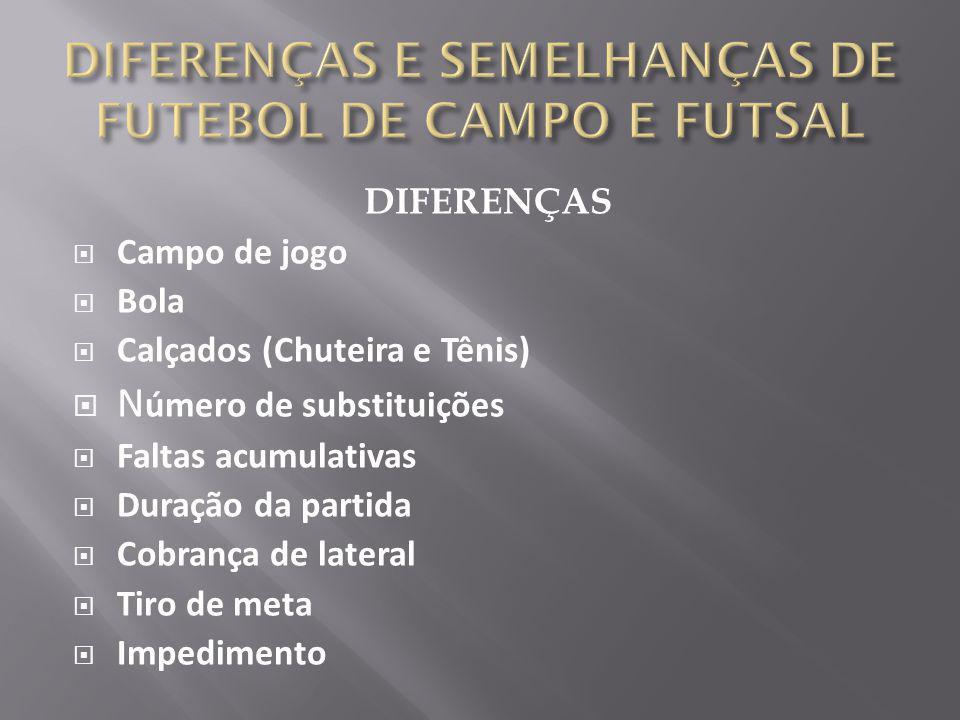 DIFERENÇAS  Campo de jogo  Bola  Calçados (Chuteira e Tênis)  N úmero de substituições  Faltas acumulativas  Duração da partida  Cobrança de la