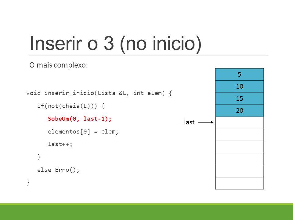 Inserir o 3 (no inicio) O mais complexo: void inserir_inicio(Lista &L, int elem) { if(not(cheia(L))) { SobeUm(0, last-1); elementos[0] = elem; last++; } else Erro(); } 5 10 15 20 last