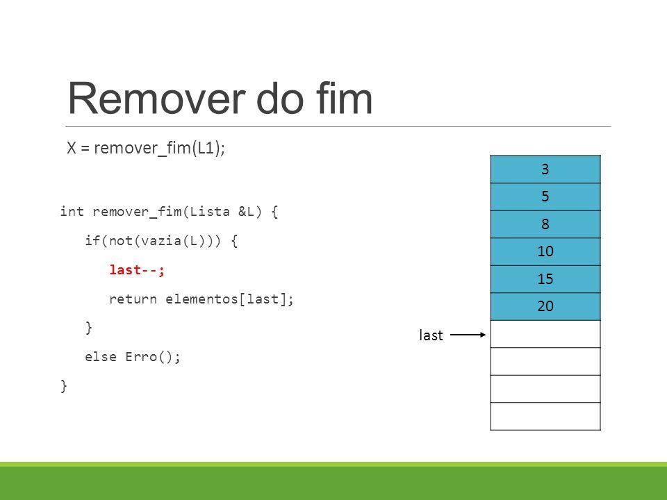 Remover do fim X = remover_fim(L1); int remover_fim(Lista &L) { if(not(vazia(L))) { last--; return elementos[last]; } else Erro(); } 3 5 8 10 15 20 last