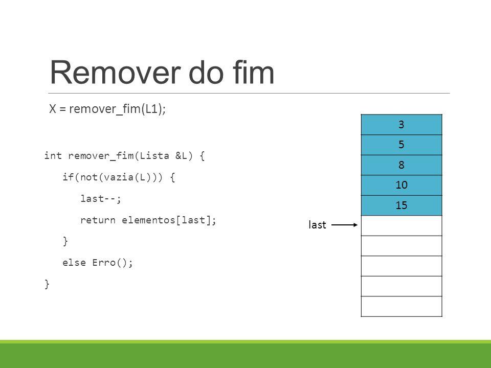 Remover do fim X = remover_fim(L1); int remover_fim(Lista &L) { if(not(vazia(L))) { last--; return elementos[last]; } else Erro(); } 3 5 8 10 15 last