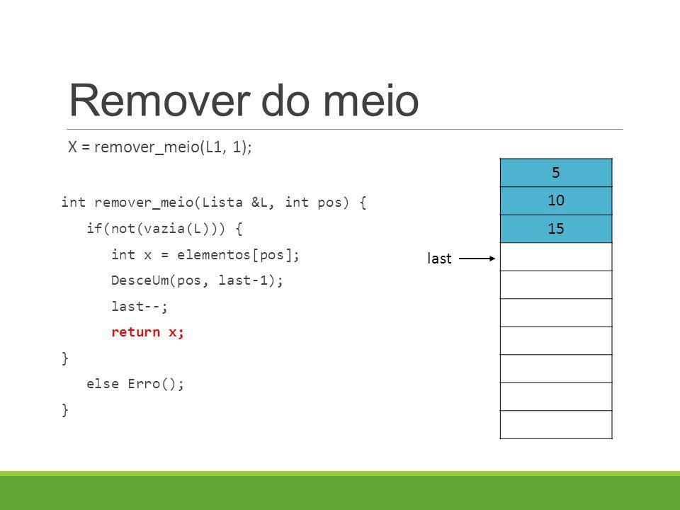 Remover do meio X = remover_meio(L1, 1); int remover_meio(Lista &L, int pos) { if(not(vazia(L))) { int x = elementos[pos]; DesceUm(pos, last-1); last--; return x; } else Erro(); } 5 10 15 last