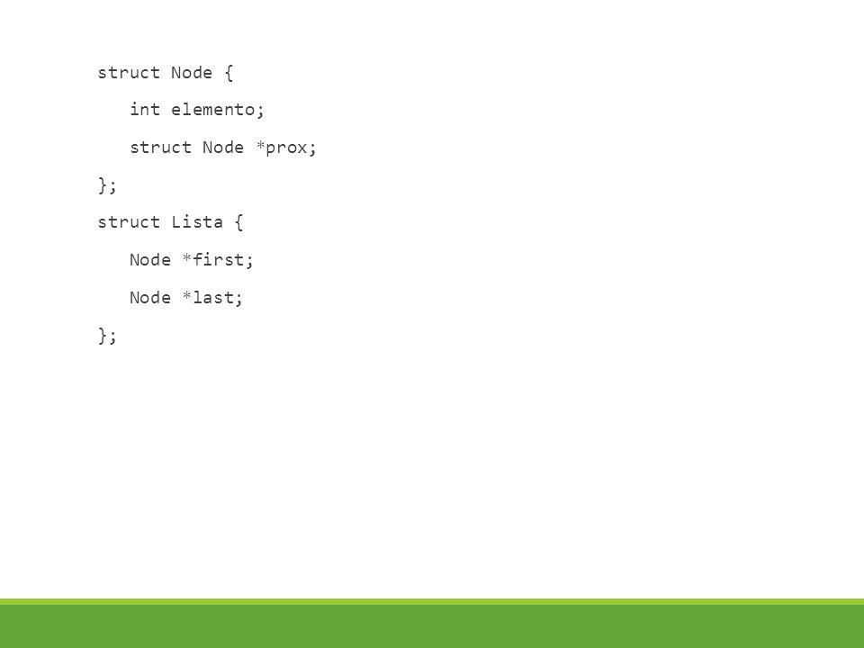 struct Node { int elemento; struct Node *prox; }; struct Lista { Node *first; Node *last; };
