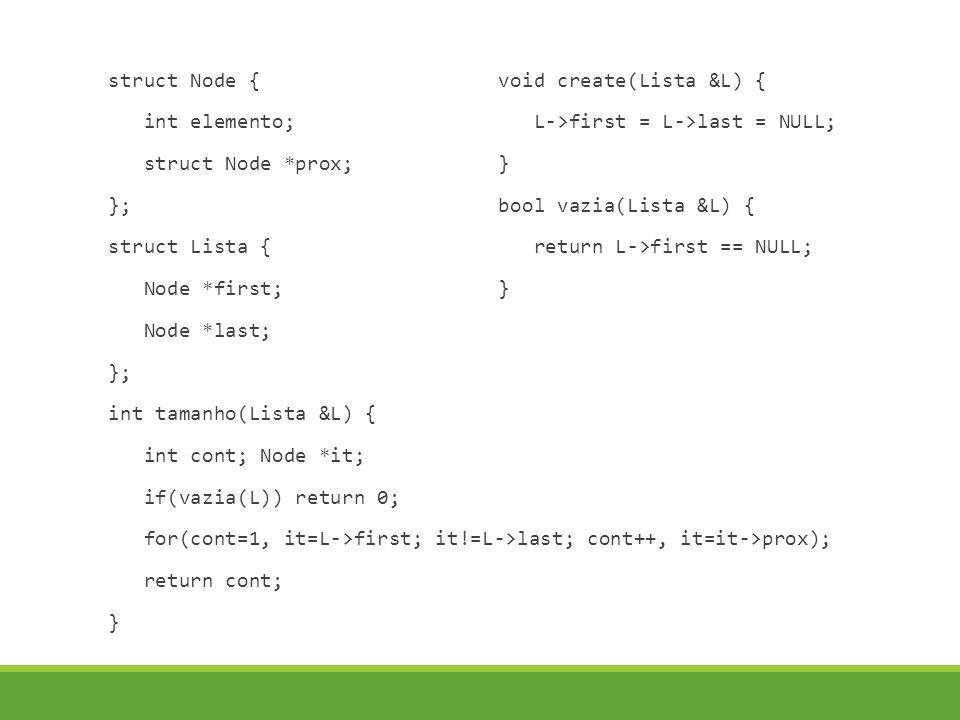 struct Node { int elemento; struct Node *prox; }; struct Lista { Node *first; Node *last; }; int tamanho(Lista &L) { int cont; Node *it; if(vazia(L))