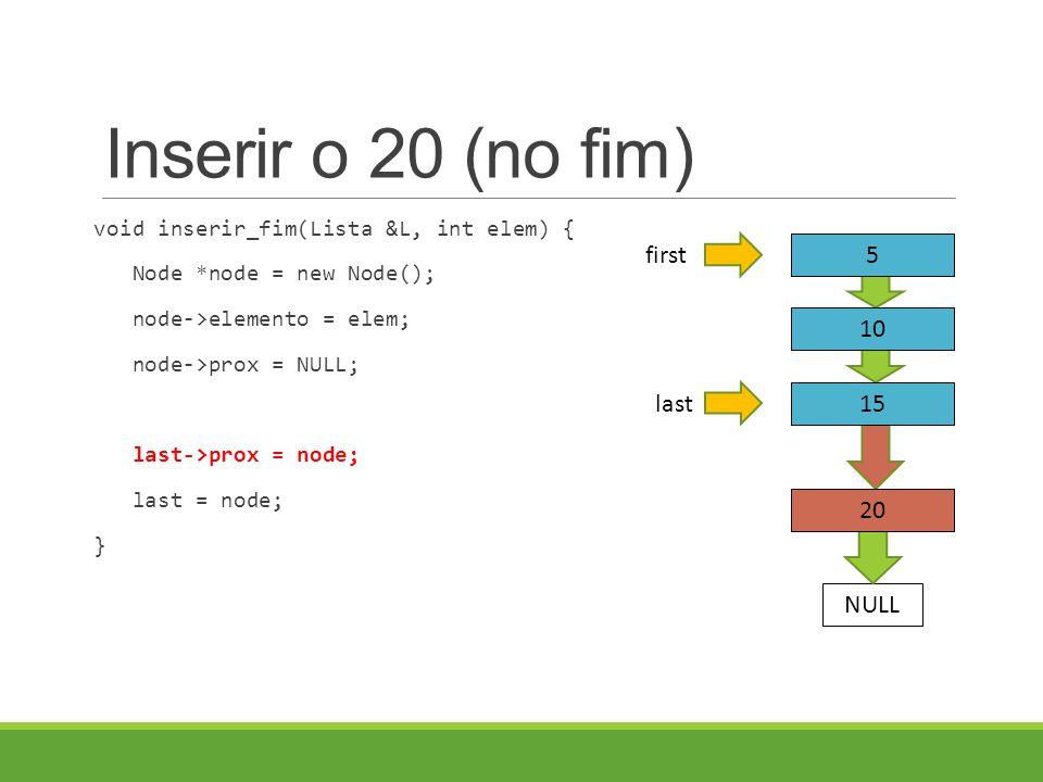 Inserir o 20 (no fim) void inserir_fim(Lista &L, int elem) { Node *node = new Node(); node->elemento = elem; node->prox = NULL; last->prox = node; last = node; } last 5 10 15 first NULL 20