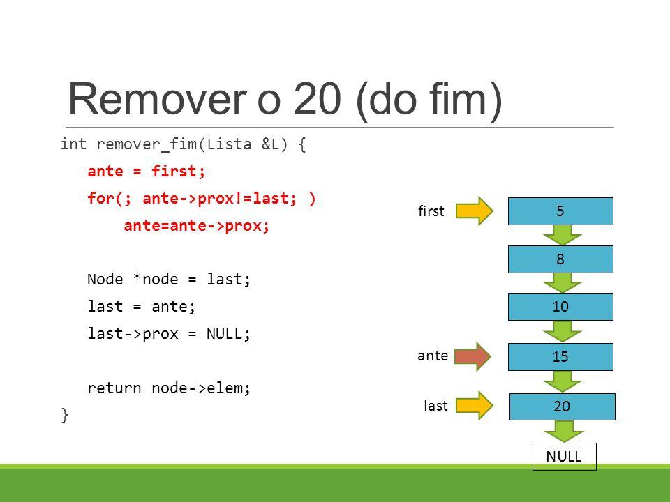 Remover o 20 (do fim) int remover_fim(Lista &L) { ante = first; for(; ante->prox!=last; ) ante=ante->prox; Node *node = last; last = ante; last->prox = NULL; return node->elem; } last 5 8 first NULL 10 15 20 ante