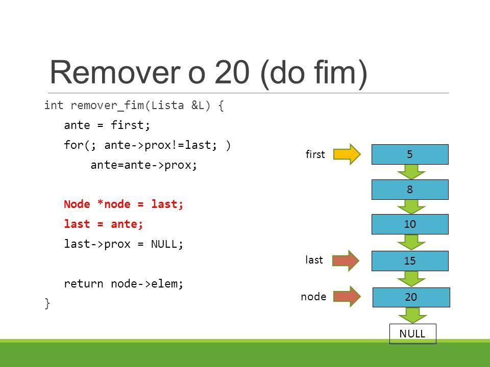 Remover o 20 (do fim) int remover_fim(Lista &L) { ante = first; for(; ante->prox!=last; ) ante=ante->prox; Node *node = last; last = ante; last->prox = NULL; return node->elem; } node 5 8 first NULL 10 15 20 last