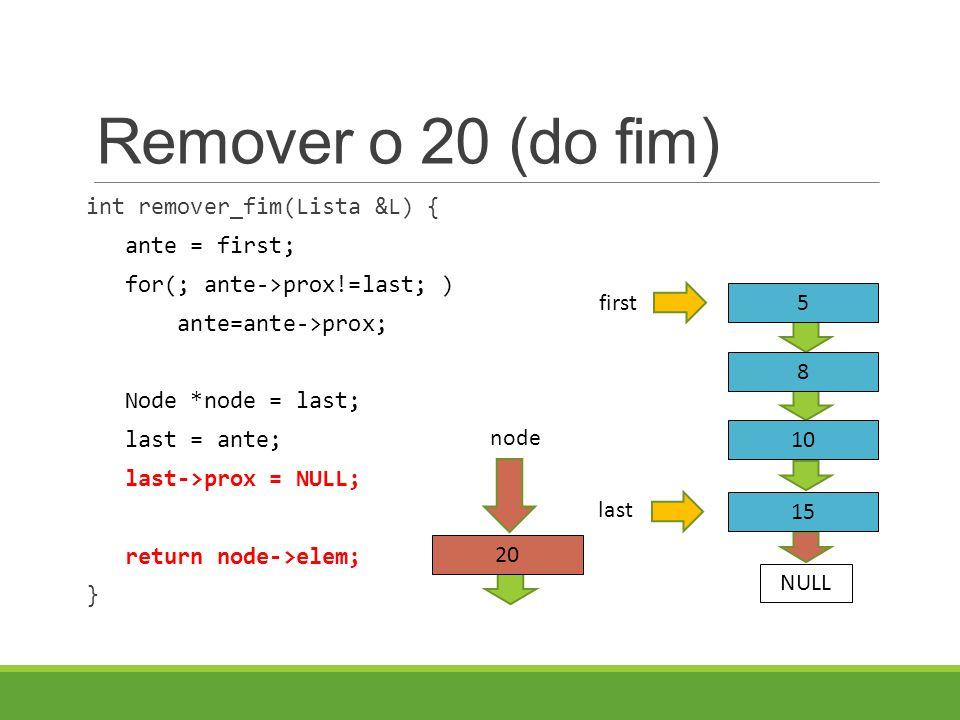 Remover o 20 (do fim) int remover_fim(Lista &L) { ante = first; for(; ante->prox!=last; ) ante=ante->prox; Node *node = last; last = ante; last->prox = NULL; return node->elem; } 5 8 first NULL 10 15 last 20 node