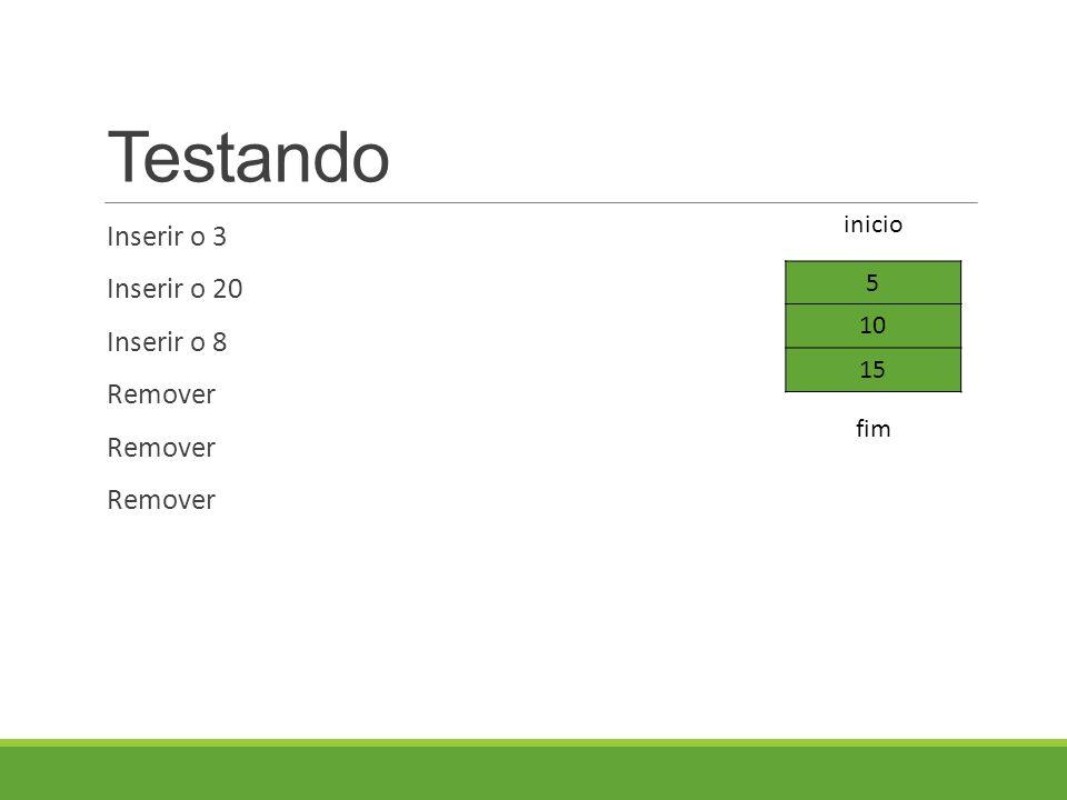 Testando Inserir o 3 Inserir o 20 Inserir o 8 Remover 5 10 15 fim inicio