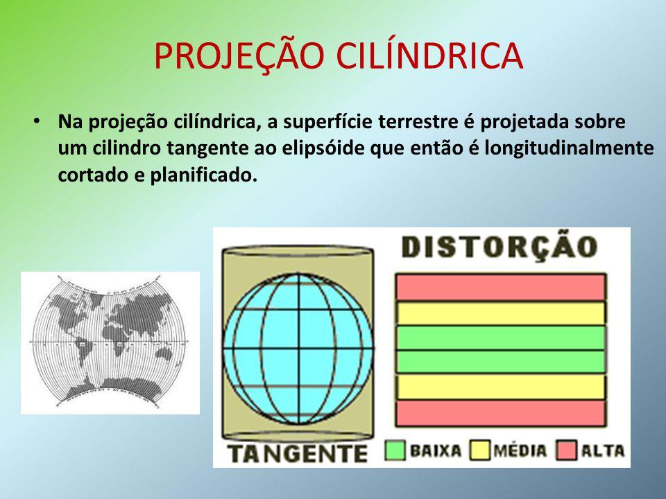 PROJEÇÃO CILÍNDRICA Na projeção cilíndrica, a superfície terrestre é projetada sobre um cilindro tangente ao elipsóide que então é longitudinalmente c