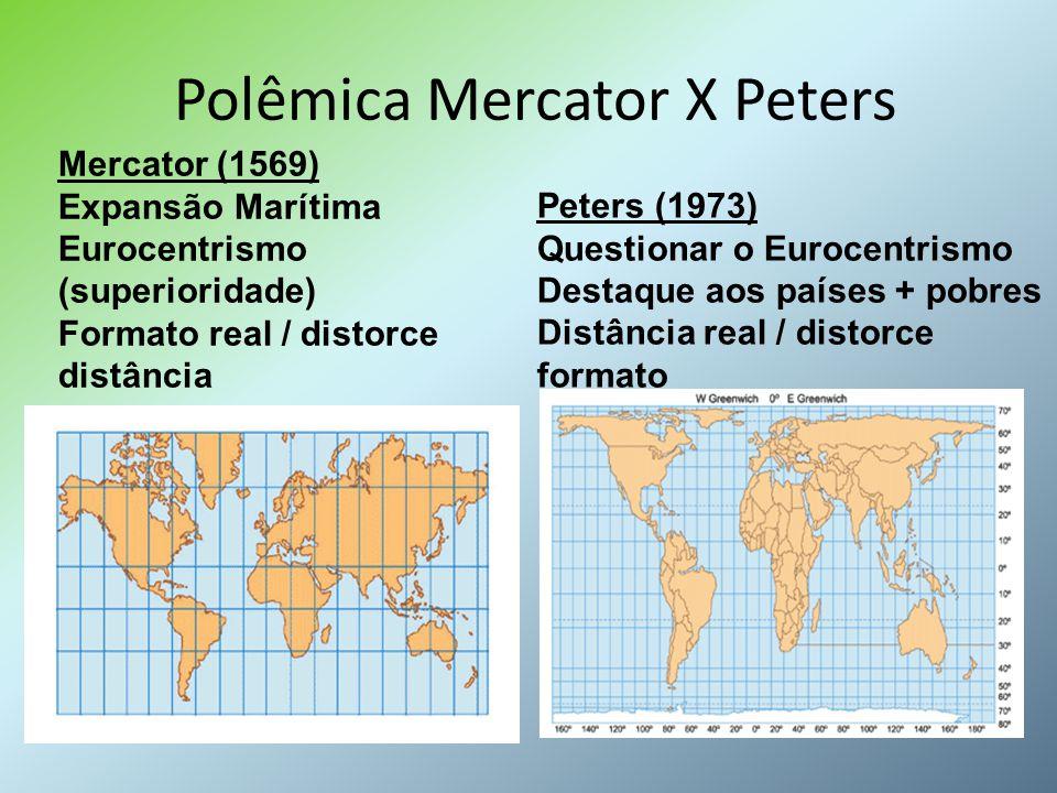 Polêmica Mercator X Peters Mercator (1569) Expansão Marítima Eurocentrismo (superioridade) Formato real / distorce distância Peters (1973) Questionar
