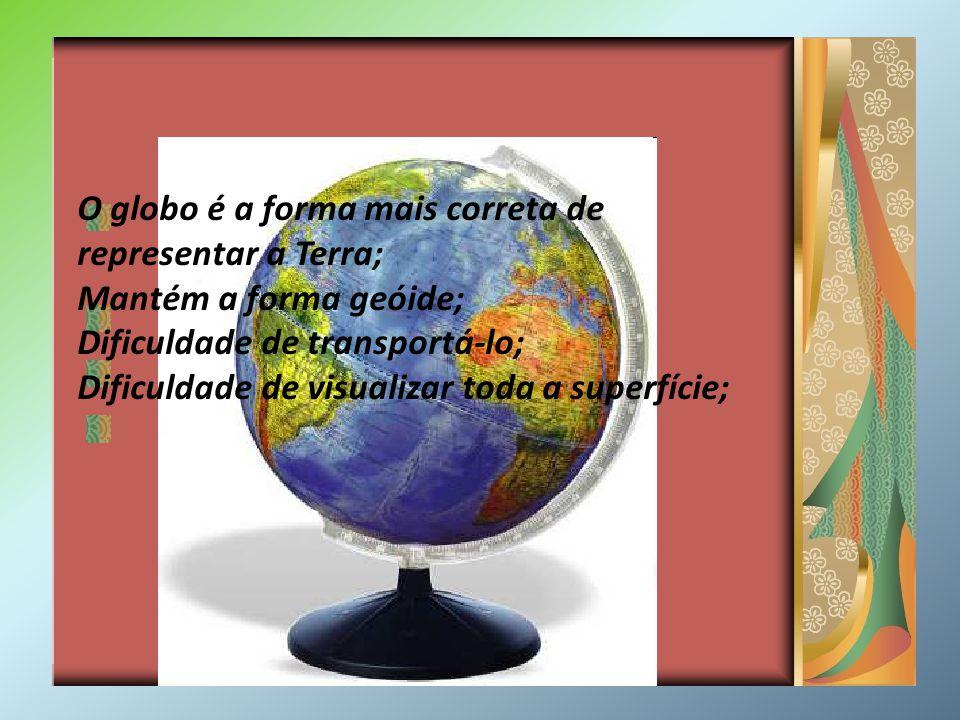 O globo é a forma mais correta de representar a Terra; Mantém a forma geóide; Dificuldade de transportá-lo; Dificuldade de visualizar toda a superfíci