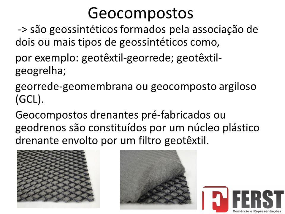 Geocompostos -> são geossintéticos formados pela associação de dois ou mais tipos de geossintéticos como, por exemplo: geotêxtil-georrede; geotêxtil- geogrelha; georrede-geomembrana ou geocomposto argiloso (GCL).