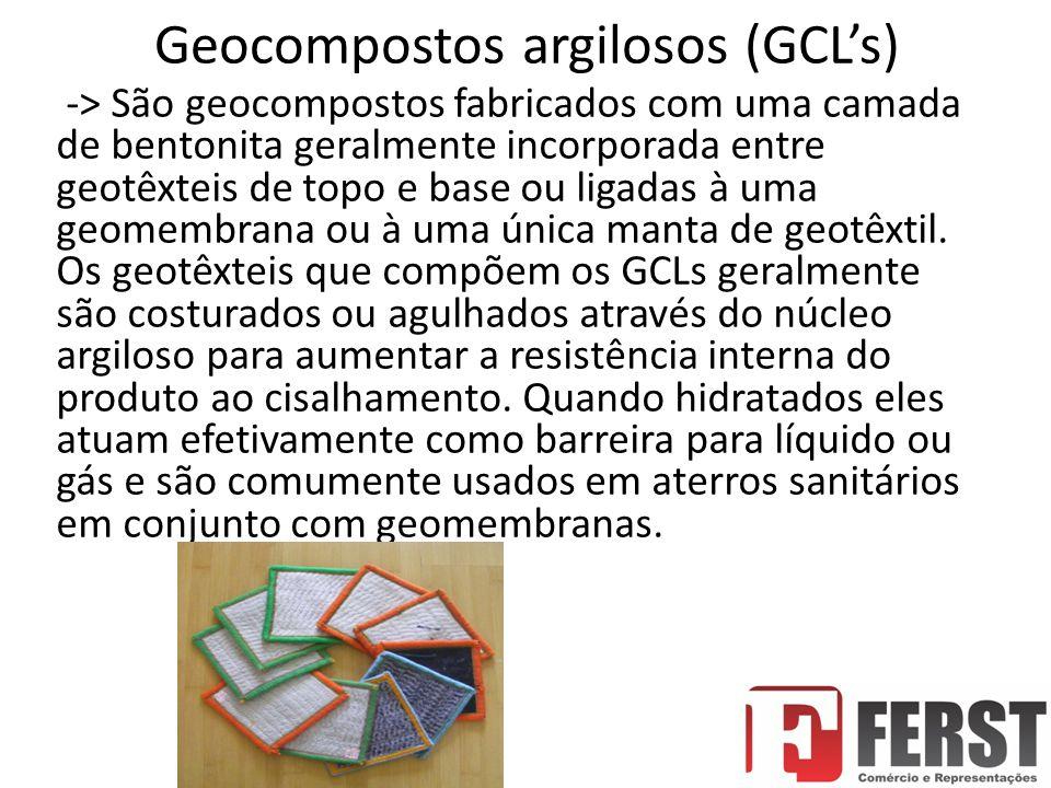 Geocompostos argilosos (GCL's) -> São geocompostos fabricados com uma camada de bentonita geralmente incorporada entre geotêxteis de topo e base ou ligadas à uma geomembrana ou à uma única manta de geotêxtil.
