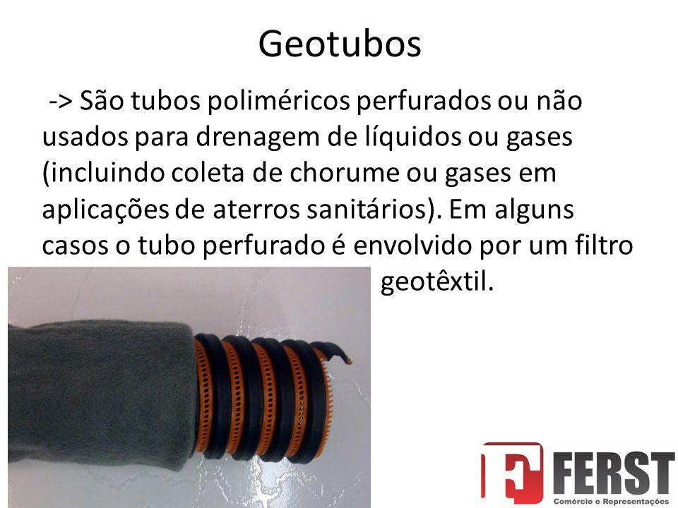Geotubos -> São tubos poliméricos perfurados ou não usados para drenagem de líquidos ou gases (incluindo coleta de chorume ou gases em aplicações de aterros sanitários).