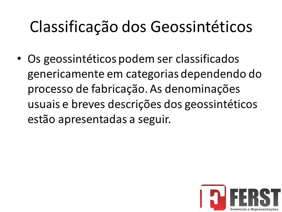 Classificação dos Geossintéticos Os geossintéticos podem ser classificados genericamente em categorias dependendo do processo de fabricação.