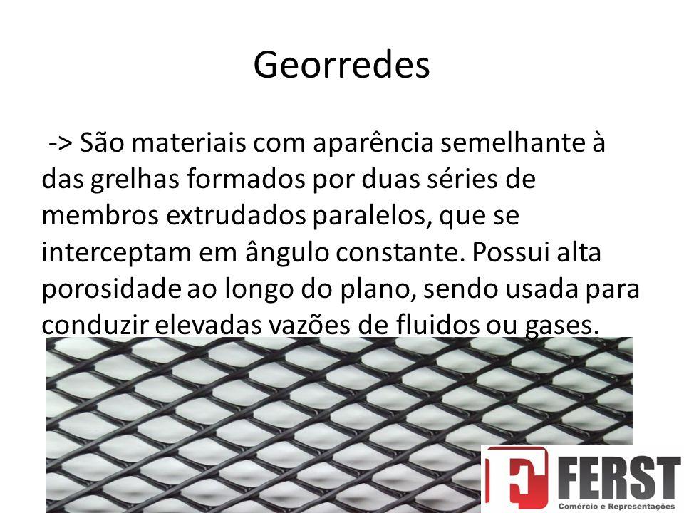 Georredes -> São materiais com aparência semelhante à das grelhas formados por duas séries de membros extrudados paralelos, que se interceptam em ângulo constante.