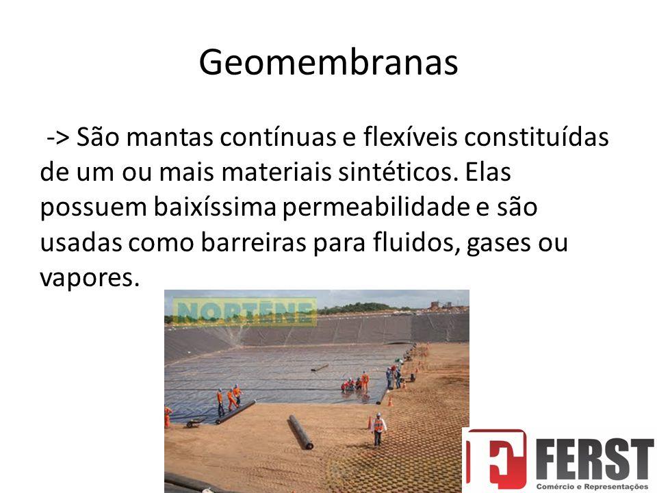 Geomembranas -> São mantas contínuas e flexíveis constituídas de um ou mais materiais sintéticos.