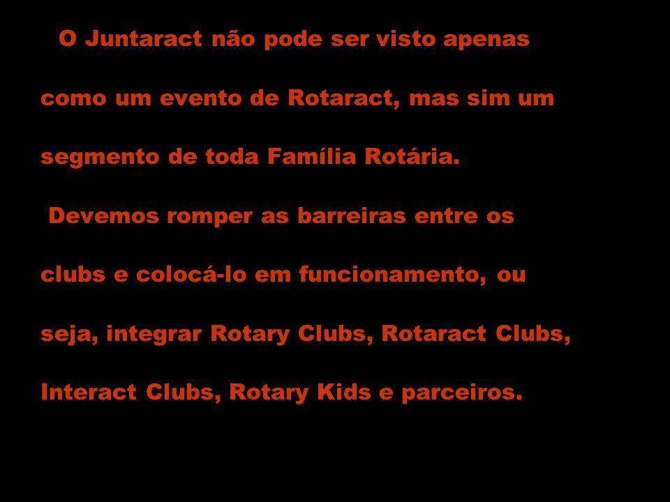 O Juntaract não pode ser visto apenas como um evento de Rotaract, mas sim um segmento de toda Família Rotária. Devemos romper as barreiras entre os cl
