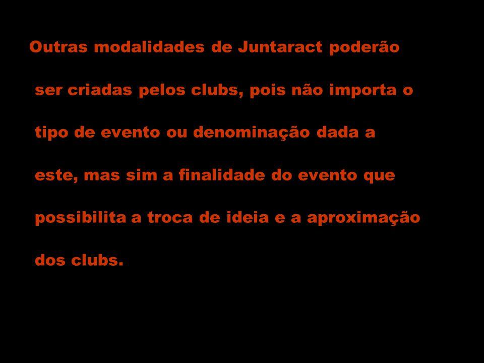 Outras modalidades de Juntaract poderão ser criadas pelos clubs, pois não importa o tipo de evento ou denominação dada a este, mas sim a finalidade do