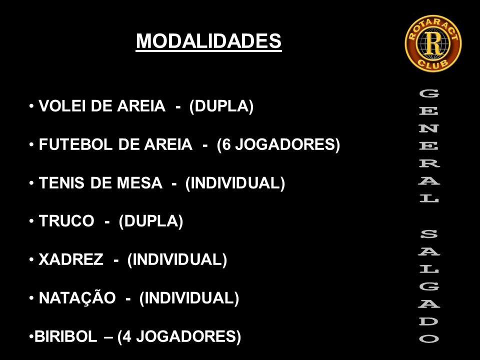 MODALIDADES VOLEI DE AREIA - (DUPLA) FUTEBOL DE AREIA - (6 JOGADORES) TENIS DE MESA - (INDIVIDUAL) TRUCO - (DUPLA) XADREZ - (INDIVIDUAL) NATAÇÃO - (INDIVIDUAL) BIRIBOL – (4 JOGADORES)