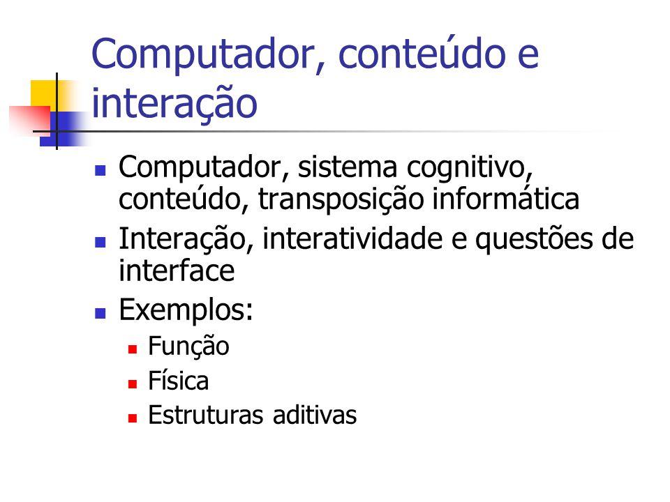 Computador, conteúdo e interação Computador, sistema cognitivo, conteúdo, transposição informática Interação, interatividade e questões de interface Exemplos: Função Física Estruturas aditivas