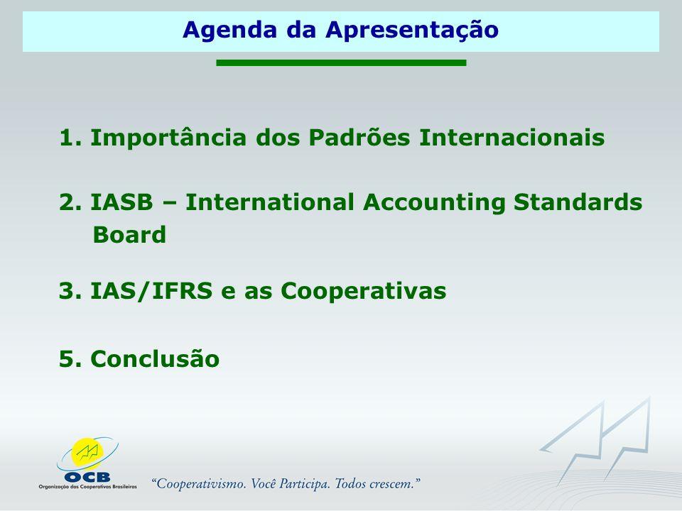 1.Importância dos Padrões Internacionais 3. IAS/IFRS e as Cooperativas 5.