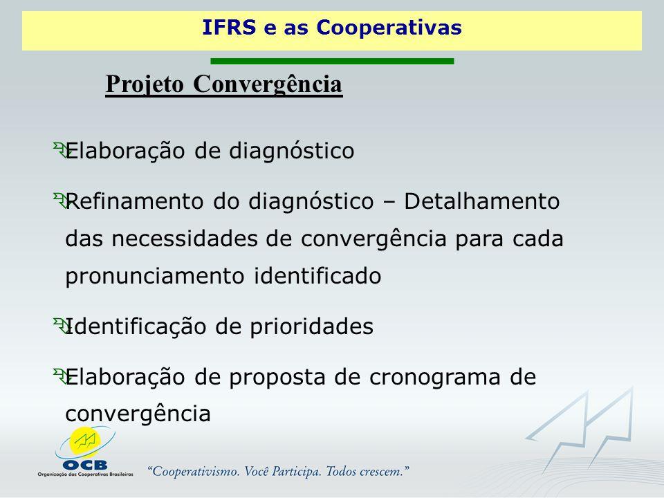 IFRS e as Cooperativas Projeto Convergência  Elaboração de diagnóstico  Refinamento do diagnóstico – Detalhamento das necessidades de convergência para cada pronunciamento identificado  Identificação de prioridades  Elaboração de proposta de cronograma de convergência