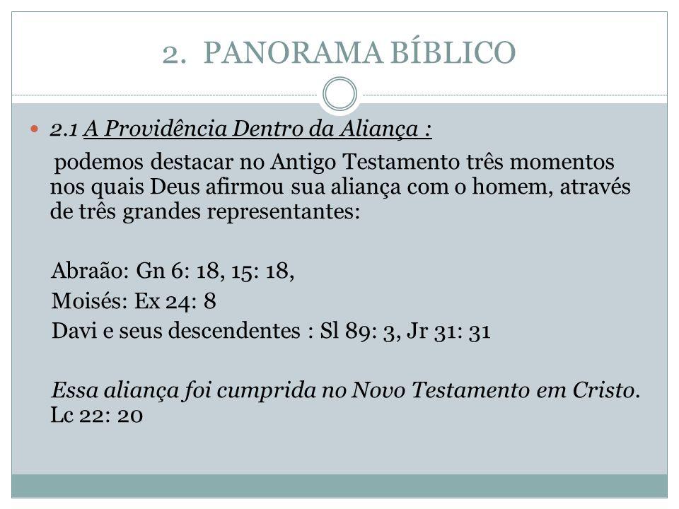2. PANORAMA BÍBLICO 2.1 A Providência Dentro da Aliança : podemos destacar no Antigo Testamento três momentos nos quais Deus afirmou sua aliança com o