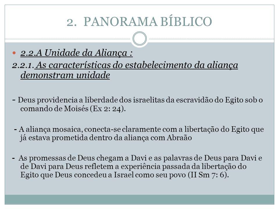 2. PANORAMA BÍBLICO 2.2.A Unidade da Aliança : 2.2.1. As características do estabelecimento da aliança demonstram unidade - Deus providencia a liberda