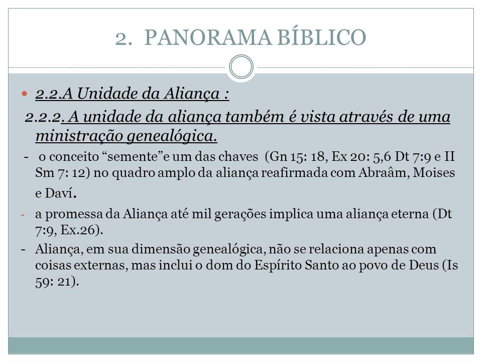 """2. PANORAMA BÍBLICO 2.2.A Unidade da Aliança : 2.2.2. A unidade da aliança também é vista através de uma ministração genealógica. - o conceito """"sement"""