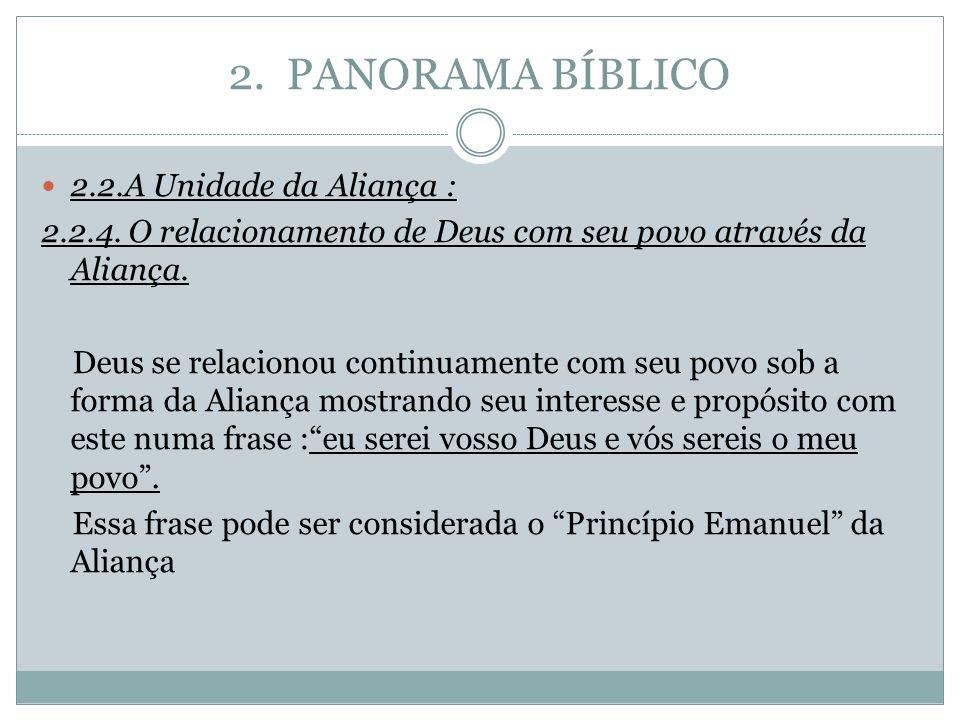 2. PANORAMA BÍBLICO 2.2.A Unidade da Aliança : 2.2.4. O relacionamento de Deus com seu povo através da Aliança. Deus se relacionou continuamente com s