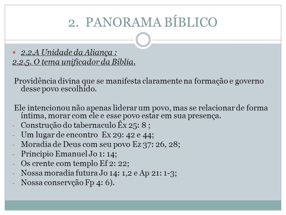 2. PANORAMA BÍBLICO 2.2.A Unidade da Aliança : 2.2.5. O tema unificador da Bíblia. Providência divina que se manifesta claramente na formação e govern