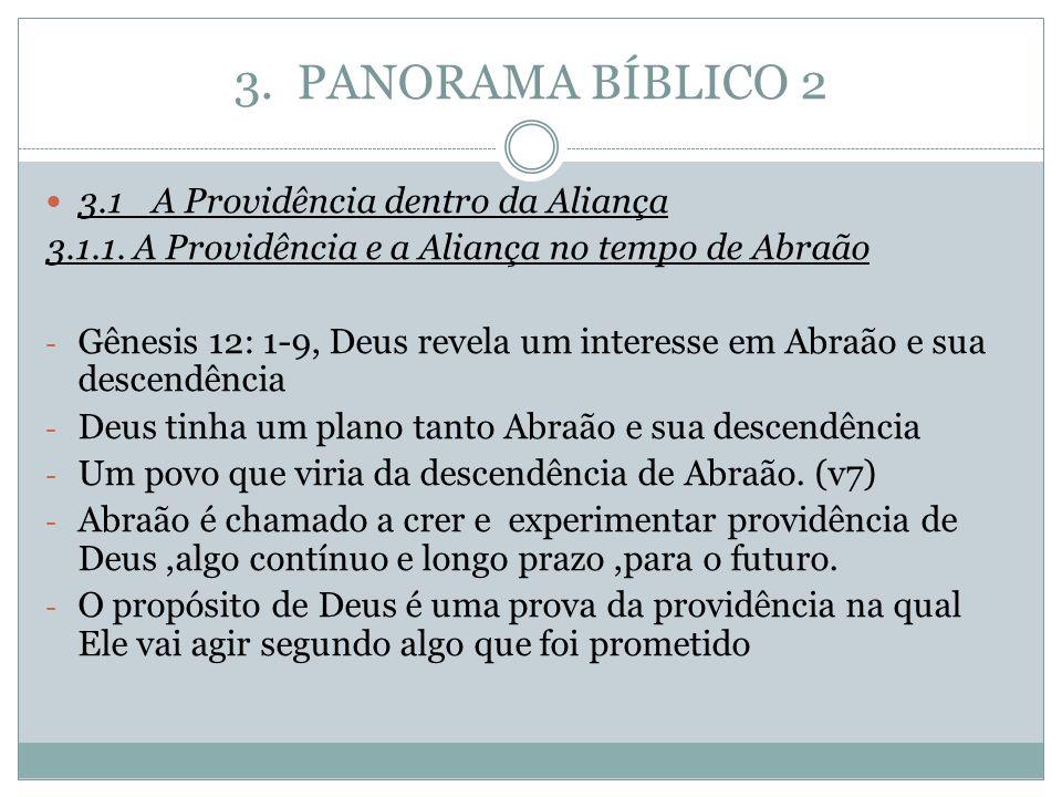 3. PANORAMA BÍBLICO 2 3.1A Providência dentro da Aliança 3.1.1. A Providência e a Aliança no tempo de Abraão - Gênesis 12: 1-9, Deus revela um interes