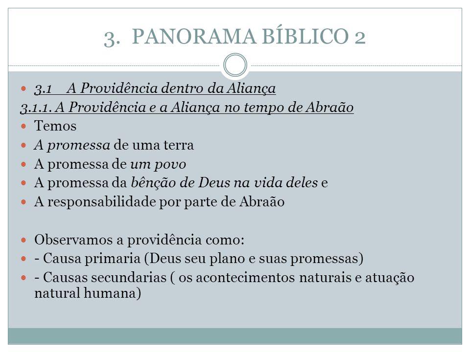 3. PANORAMA BÍBLICO 2 3.1A Providência dentro da Aliança 3.1.1. A Providência e a Aliança no tempo de Abraão Temos A promessa de uma terra A promessa