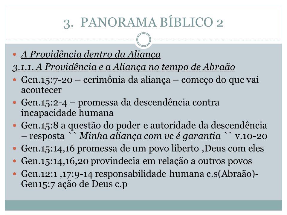 3. PANORAMA BÍBLICO 2 A Providência dentro da Aliança 3.1.1. A Providência e a Aliança no tempo de Abraão Gen.15:7-20 – cerimônia da aliança – começo