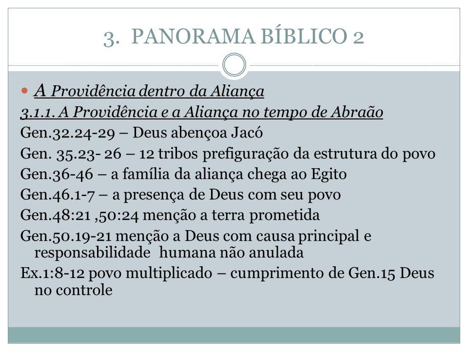 3. PANORAMA BÍBLICO 2 A Providência dentro da Aliança 3.1.1. A Providência e a Aliança no tempo de Abraão Gen.32.24-29 – Deus abençoa Jacó Gen. 35.23-