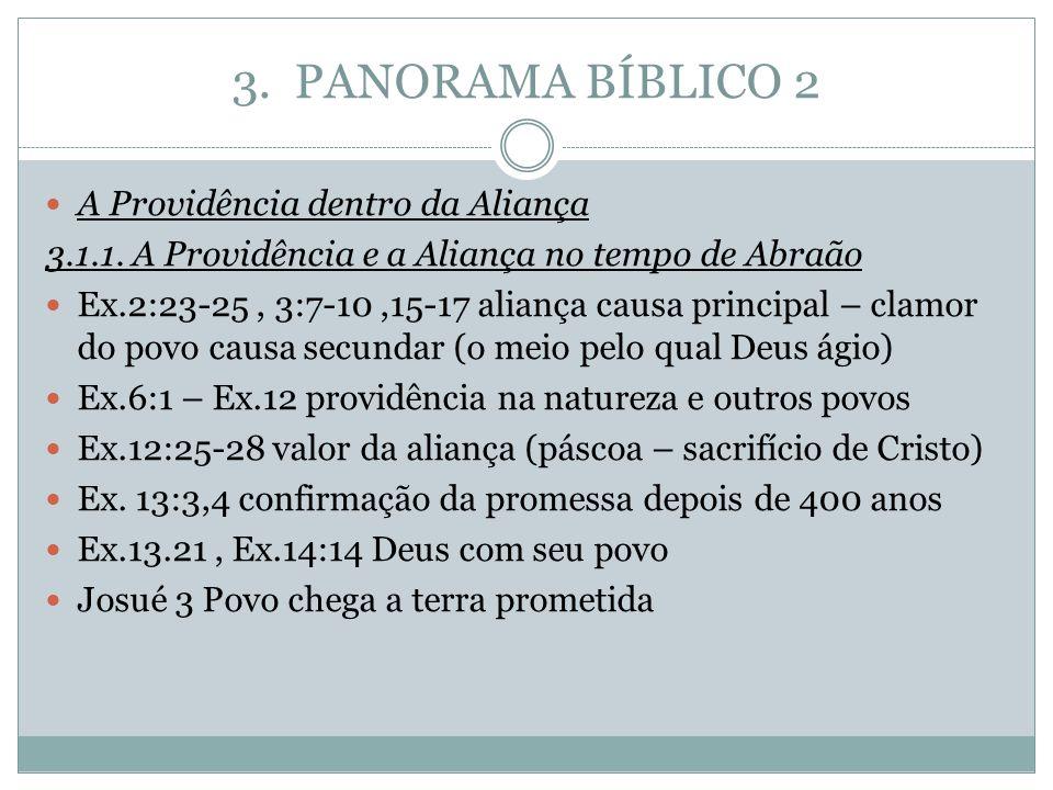 3. PANORAMA BÍBLICO 2 A Providência dentro da Aliança 3.1.1. A Providência e a Aliança no tempo de Abraão Ex.2:23-25, 3:7-10,15-17 aliança causa princ