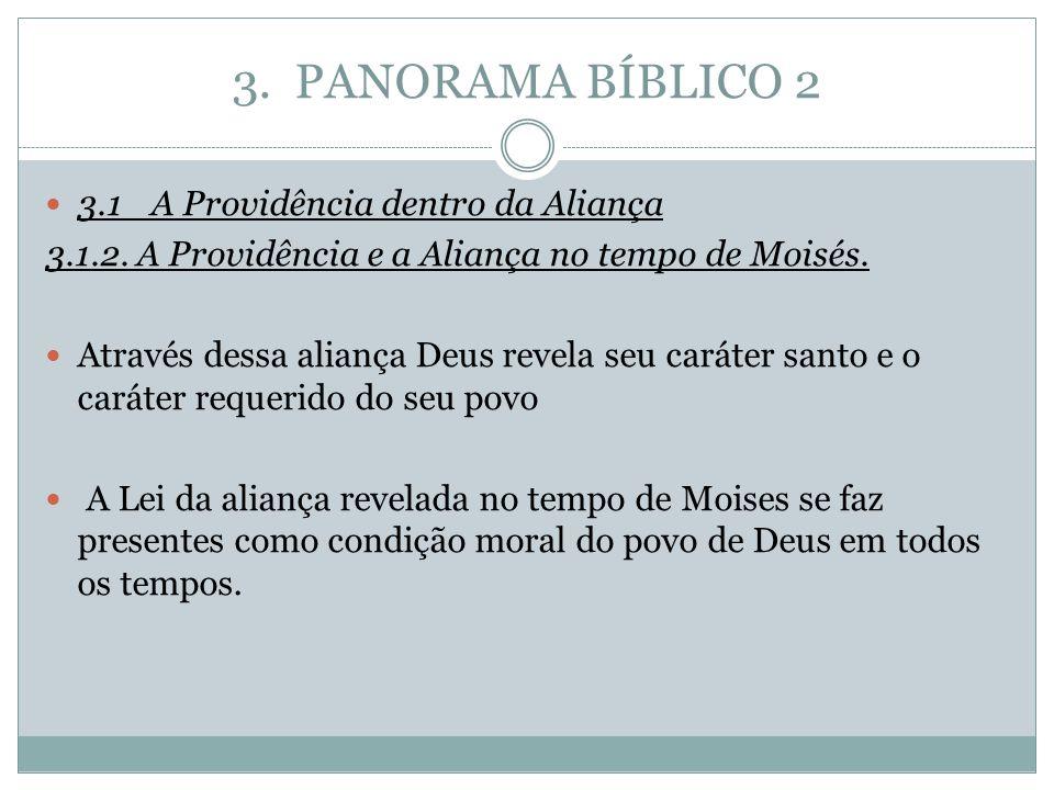 3. PANORAMA BÍBLICO 2 3.1A Providência dentro da Aliança 3.1.2. A Providência e a Aliança no tempo de Moisés. Através dessa aliança Deus revela seu ca