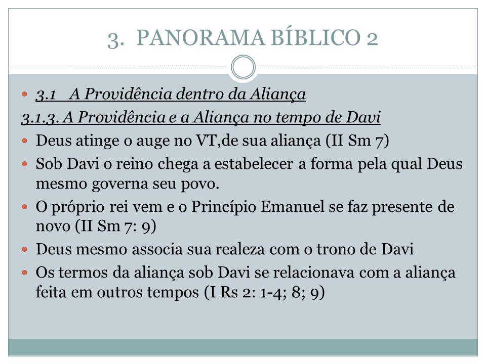 3. PANORAMA BÍBLICO 2 3.1A Providência dentro da Aliança 3.1.3. A Providência e a Aliança no tempo de Davi Deus atinge o auge no VT,de sua aliança (II