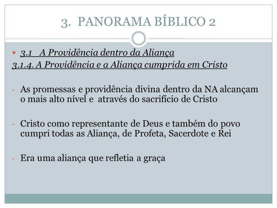 3. PANORAMA BÍBLICO 2 3.1A Providência dentro da Aliança 3.1.4. A Providência e a Aliança cumprida em Cristo - As promessas e providência divina dentr
