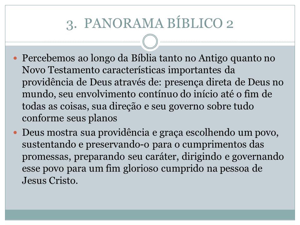 3. PANORAMA BÍBLICO 2 Percebemos ao longo da Bíblia tanto no Antigo quanto no Novo Testamento características importantes da providência de Deus atrav