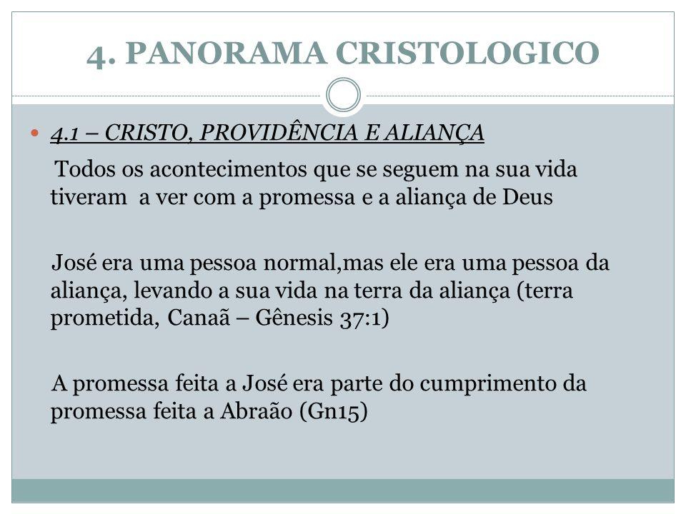 4. PANORAMA CRISTOLOGICO 4.1 – CRISTO, PROVIDÊNCIA E ALIANÇA Todos os acontecimentos que se seguem na sua vida tiveram a ver com a promessa e a alianç