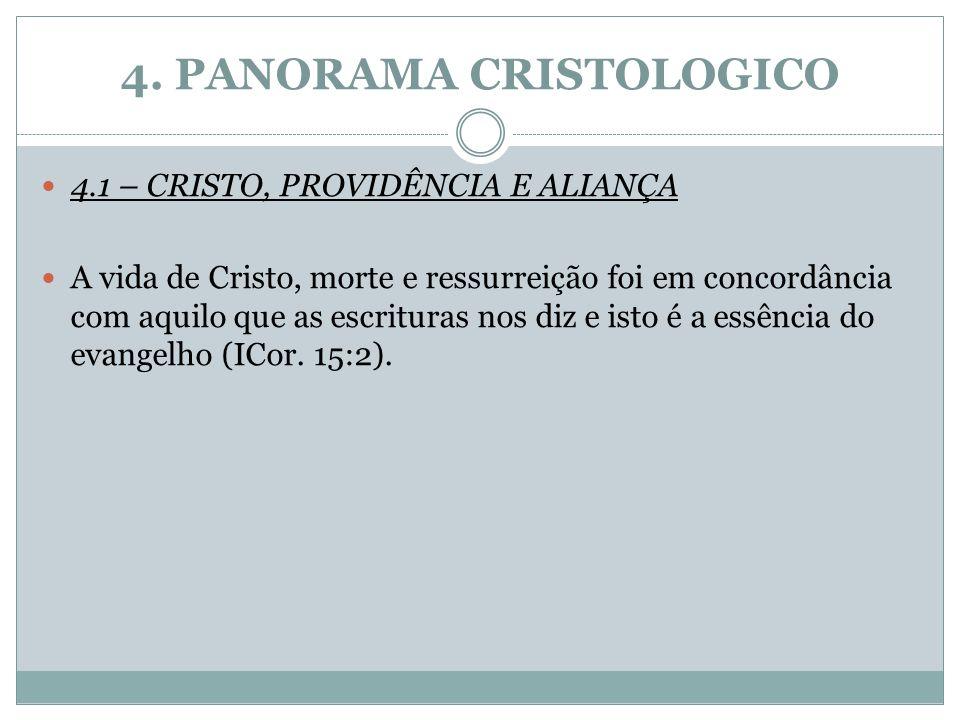 4. PANORAMA CRISTOLOGICO 4.1 – CRISTO, PROVIDÊNCIA E ALIANÇA A vida de Cristo, morte e ressurreição foi em concordância com aquilo que as escrituras n