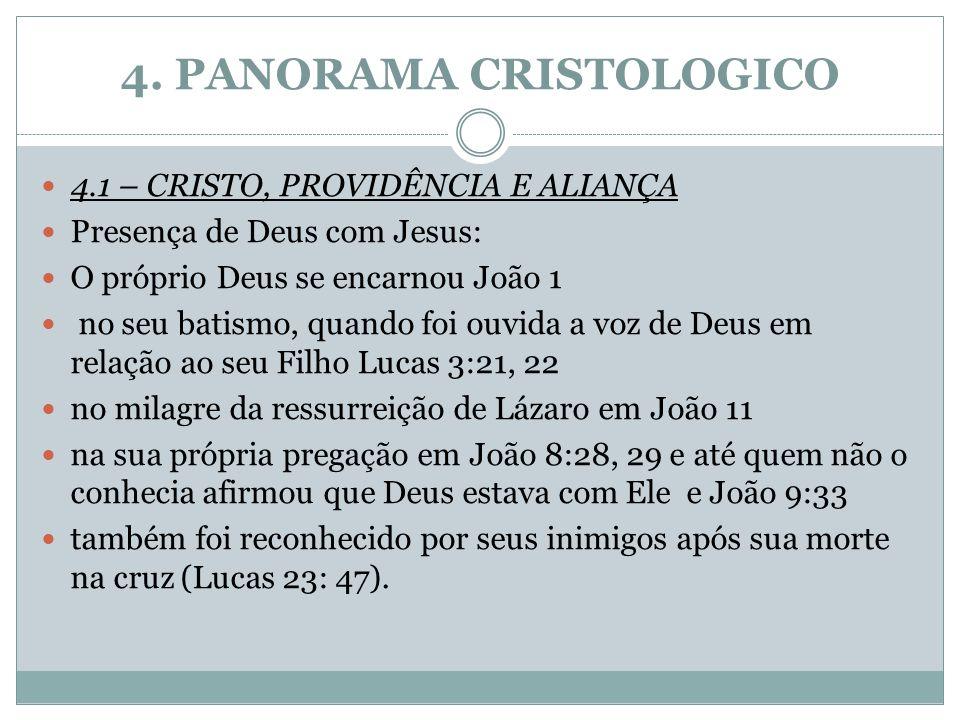 4. PANORAMA CRISTOLOGICO 4.1 – CRISTO, PROVIDÊNCIA E ALIANÇA Presença de Deus com Jesus: O próprio Deus se encarnou João 1 no seu batismo, quando foi
