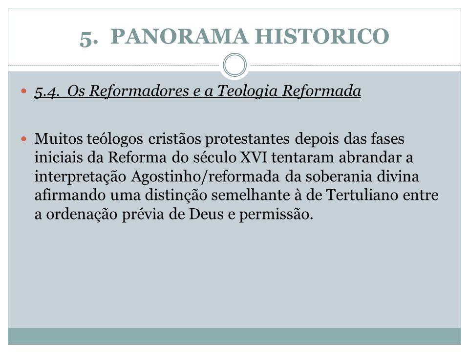 5. PANORAMA HISTORICO 5.4.Os Reformadores e a Teologia Reformada Muitos teólogos cristãos protestantes depois das fases iniciais da Reforma do século
