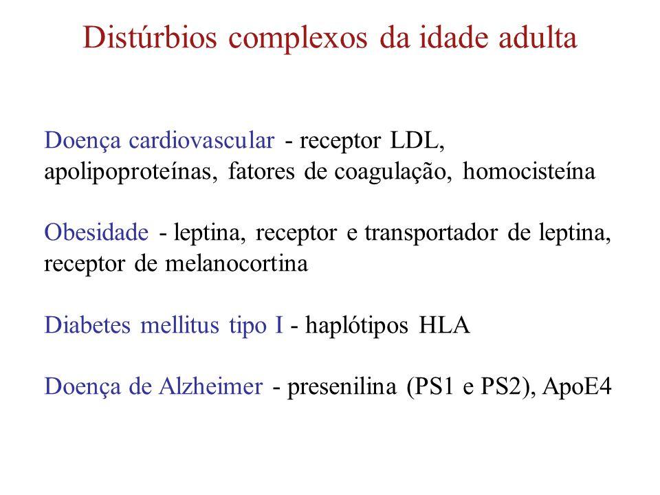 Distúrbios complexos da idade adulta Doença cardiovascular - receptor LDL, apolipoproteínas, fatores de coagulação, homocisteína Obesidade - leptina,