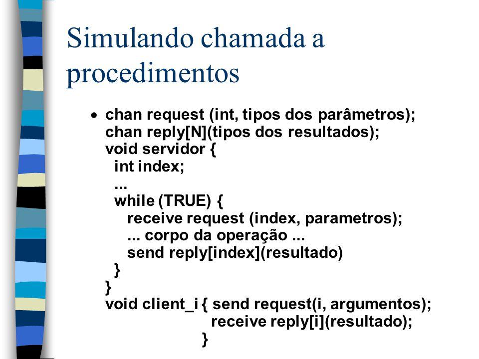 Simulando chamada a procedimentos  chan request (int, tipos dos parâmetros); chan reply[N](tipos dos resultados); void servidor { int index;... while