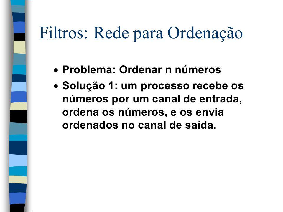 Filtros: Rede para Ordenação  Problema: Ordenar n números  Solução 1: um processo recebe os números por um canal de entrada, ordena os números, e os